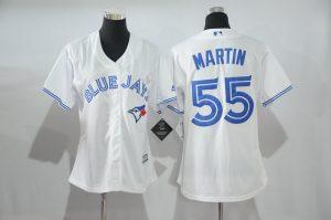 Womens 2017 MLB Toronto Blue Jays 55 Martin White Jerseys