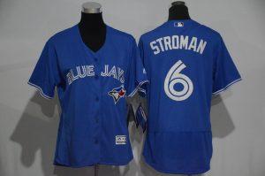 Womens 2017 MLB Toronto Blue Jays 6 Stroman Blue Elite Jerseys