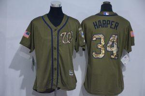 Womens 2017 MLB Washington Nationals 34 Harper Green Salute to Service Stitched Baseball Jersey